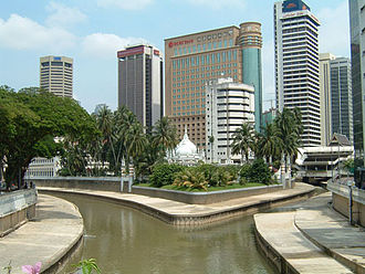 Gombak River - The Gombak River (left) merges with the Klang River (right) in Kuala Lumpur.