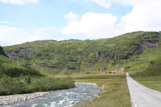 Norwegian National Road 13 - View of the road in Kvassdalen