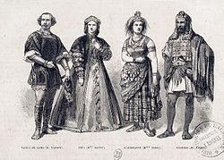 Die vier Hauptfiguren der Oper in der Uraufführung: Emilio Naudin als Vasco da Gama, Marie Battu als Inès, Marie Sasse als Sélika, Jean-Baptiste Faure als Nélusco