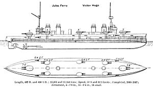 Léon Gambetta-class cruiser - Right elevation and deck plan as depicted in Brassey's Naval Annual 1923