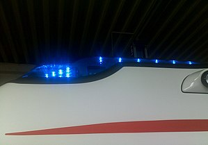 Emergency vehicle lighting - LED-lights on a Volkswagen Transporter-Ambulance