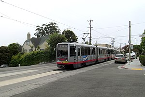 Ulloa and Forest Side station - Image: L Taraval train at Ulloa Street & Forest Side Avenue, June 2017