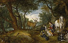 In a forest, a kneeling man holds his hand over his heart. A stag stands in front of him, his horse stands behind him, and his hunting dogs lay near-by.