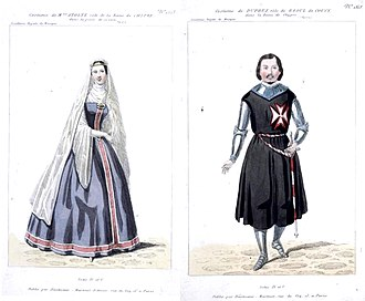 La reine de Chypre - Costume designs for Stoltz and Duprez in Acts IV and V