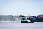 Lauren Foss tug, Kobe Express ship and WA State Ferry.jpg