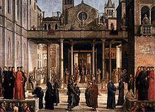 Lazzaro bastiani, Relic of the Holy Cross is offered to the Scuola Grande di San Giovanni Evangelista 01.jpg