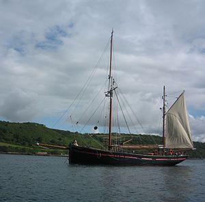 Brixham trawler - The Brixham trawler Leader at anchor off Cawsand, near Plymouth. July 2008.