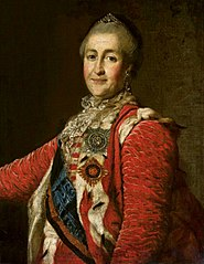 Portrait of Catherine II of Russia in red dress.