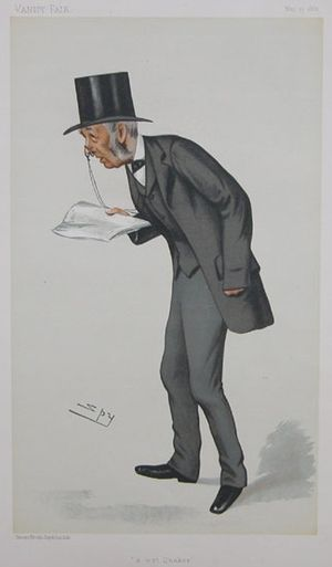 "Lewis Llewelyn Dillwyn - ""a wet Quaker"" Dillwyn as caricatured by Spy (Leslie Ward) in Vanity Fair, May 1882"