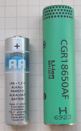 Lithium-ion battery - An 18650 size lithium ion battery, with an alkaline AA for scale. 18650 are used for example in notebooks or Tesla Model S