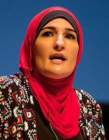 Linda Sarsour speaking at a panel discussion