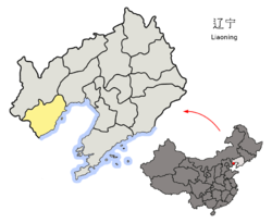 Location of Huludao City jurisdiction in Liaoning