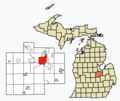 Location of Saginaw in Michigan and Saginaw County (Gray).png