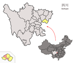 Location of Yuechi County (red) within Guang'an City (yellow) and Sichuan