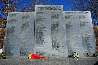 Tragedy (event) - A memorial is often established to remember lives lost in a tragedy such as the Lockerbie air disaster