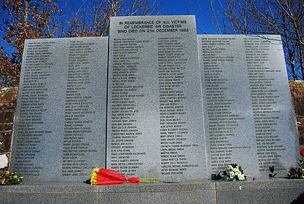 Memorial at Dryfesdale Cemetery Lockerbie disaster memorial.jpg