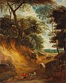 Lodewijk de Vadder - A hilly landscape with travellers and a wagon on a path.jpg