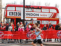 London Bus Company Routemaster coach RMA48 (NMY 631E), Canary Wharf, 2012 London Marathon.jpg
