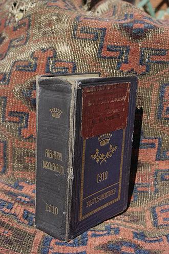 Almanach de Gotha - London Library's copy of Gothaisches Genealogisches Taschenbuch der Freiherrlichen Häuser, 1910.