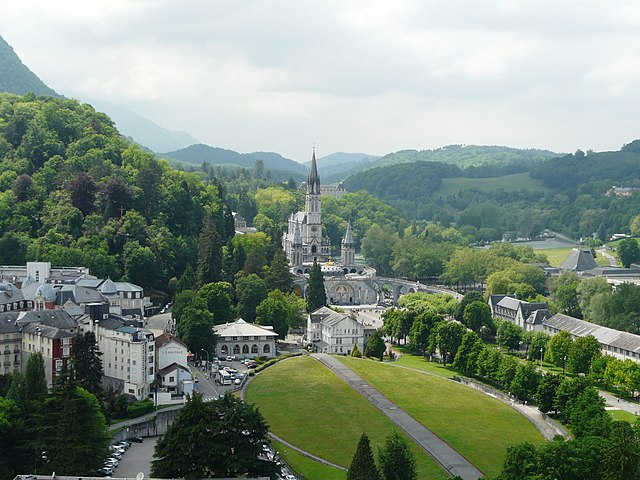 The Sanctuary of Our Lady of Lourdes Lourdes basilique vue depuis chateau (3).JPG