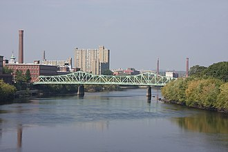 Lowell, Massachusetts - Lowell on the Merrimack River with Cox Bridge