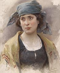 Young Woman with Green Headscarf
