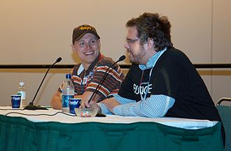 Luke Smith (writer) - Smith (right) and Shane Bettenhausen at a 1UP Yours panel.