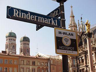 Municipal wireless network - Wi-Fi sign in downtown Munich