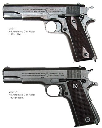 M1911 pistol - Comparison of government-issue M1911 (top) and M1911A1 pistols