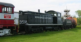 Minneapolis and St. Louis Railway - Locomotive D-538 is preserved at the National Railroad Museum in Green Bay, Wisconsin.