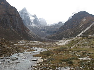 Machhermo -  Machermo river and Machermo Glacier