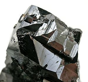 Edwards, New York - Magnetite mineral specimen from the ZCA Mine No. 4, Balmat-Edwards Zinc District. Crystal is about 4 cm. wide.