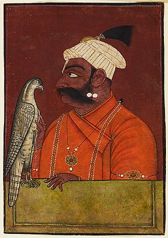 Falconry - Indian king Maharaja Suraj Mal with a hawk