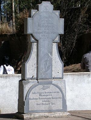 Okahandja - Monument to Herero Chiefs: Gravestone of Tjamuaha, Maharero, and Samuel Maharero