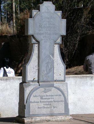 Okahandja - Monument to Herero Chiefs: Gravestone of Tjamuaha, Maharero, and Samuel Maharero