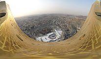 180° view, W↔N↔E, shot from crescent platform of Makkah Clock Tower