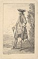 Man walking and carrying a cane in his right hand, shown in three-quarters view with his head turned away from the viewer, from the series 'Figures of fashion' (Figures de modes) MET DP829189.jpg