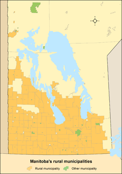 Map showing locations of Manitoba's rural municipalities