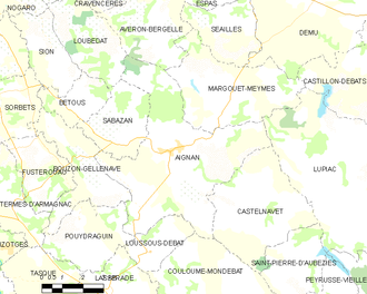 Aignan, Gers - Map of Aignan and its surrounding communes