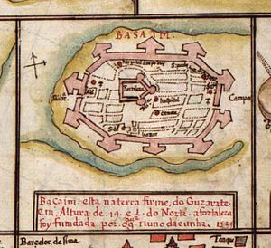 Nuno da Cunha - Map of Bassein (c. 1539), drawn by Nuno da Cunha, Governor of Portuguese India (1528-38).