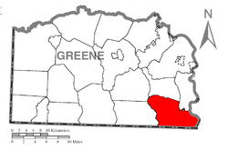 Location of Dunkard Township in Greene County