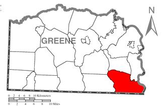 Dunkard Township, Greene County, Pennsylvania - Image: Map of Dunkard Township, Greene County, Pennsylvania Highlighted