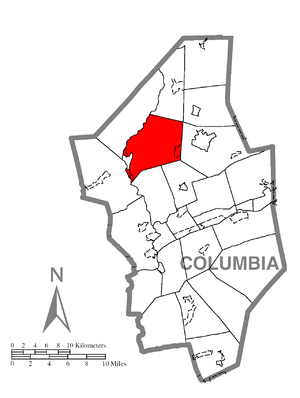 Greenwood Township, Columbia County, Pennsylvania - Image: Map of Greenwood Township, Columbia County, Pennsylvania Highlighted