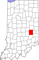 Map of Indiana highlighting Rush County.svg