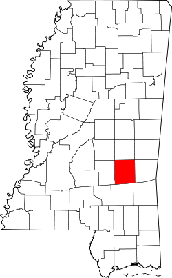 map of Mississippi highlighting Jasper County