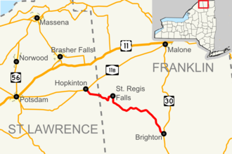 New York State Route 458 - Image: Map of NY Route 458 infobox