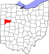 State map highlighting Auglaize County