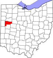 Map of Ohio highlighting Auglaize County