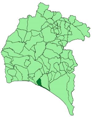 Palos de la Frontera - Image: Map of Palos de la Frontera (Huelva)