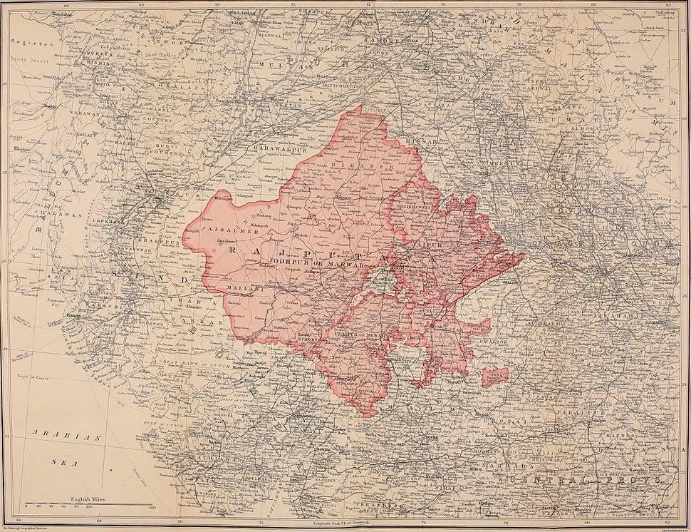 Map of Rajputana or Rajasthan 1920